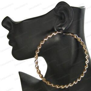 10cm ZIG ZAG aztec HOOPS gold fashion EARRINGS large hoop GIANT CHUNKY TWISTED