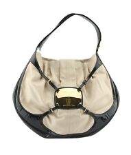 Alexander McQueen Clover Tan & Black Leather & Patent Leather Shoulder Bag