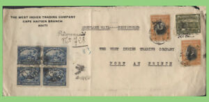 Haiti 1927 Airmail multi franked reg. cover from Cape Haitien to Port Au prince.