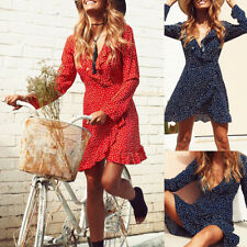 New Womens Summer Casual Long Sleeve Evening Party Cocktail Short Mini Dress~