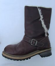 AUTHENTIC CATERPILLAR CAT LADIES BROWN LEATHER MID CALF FLAT BOOTS SIZE 6 EUR 39
