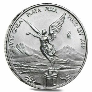 2020 - 1/10 oz Mexican Silver Bullion Libertad Coin .999 Fine silver BU IN STOCK