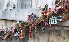 Red green navy Black Burgundy burlap mix primitive 4 Ft rag white light garland