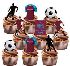 West Ham Football Themed 36 Cup Cake Toppers Decorations Boys Mens Birthday