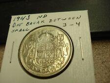 1943 ND Die Break - Canada - Silver 50 cents - Circulated half dollar -
