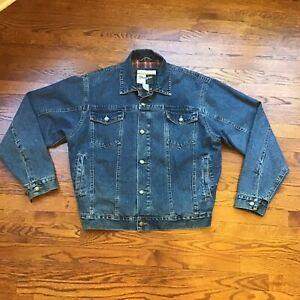 Levis Outerwear Men's Plaid Flannel Lined Denim Jacket Trucker Size L