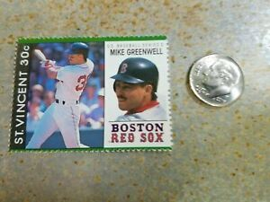 Mike Greenwell Boston Red Sox St Vincent MLB Baseball RARE Stamp