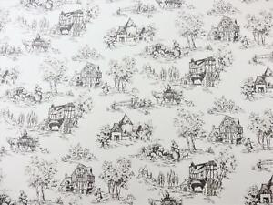 Puppenhaus Toile De Jouy Schwarz auf Weiß Miniatur Bild Druck Tapete