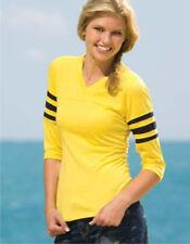 2 LOT 3/4 SLEEVE LADIES WOMENS FOOTBALL BASEBALL T-SHIRTS ( XS - XL ) 35 Colors