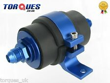 AN-8 (AN8 JIC-8) Blue Anodised High Flow Billet Fuel Filter 30 Micron And Cradle
