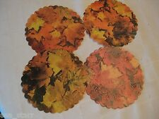 "VTG 6"" INCH ROUND ROYAL LACE FALL AUTUMN LEAF PRINT DOILIES 6 PCS PAPER"