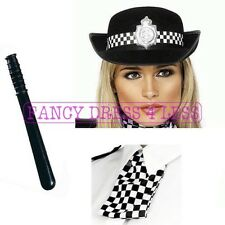 Women's Police Lady Fancy Dress Kit Baton Hat Scarf Policewomen Cop PC Hen Theme