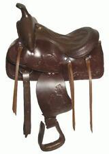 "12"" Brown Leather Pony Western Show Saddle Trail Kids"