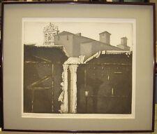 Mario Micossi 1960s Aquatint of Church in Rome Listed Italian Artist