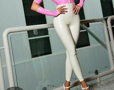 Latex Catsuit Rubber Gummi Sexy Slim Mid Waist White Cool Pants Customized 0.4mm
