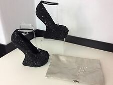 Giuseppe Zanotti Black Stones New Bnwob Size 39.5 Uk 6.5 Wedge Heels Peep Toe