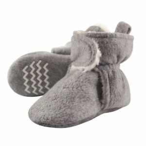 Hudson Baby Baby Sherpa Lined Scooties with Non Skid Bottom, Heather Gray