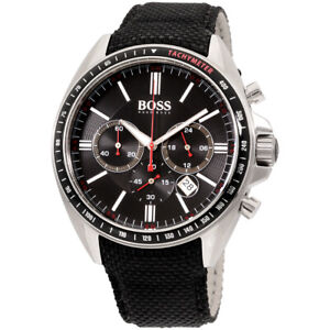 HUGO BOSS Classic Black Dial Canvas Strap Men's Watch 1513087