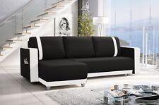 New Corner Sofa Bed With Storage Faux Leather Black White Ikea Naroznik CARLOS