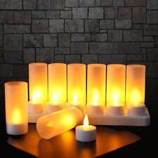12 LED Teelichter wiederaufladbar flackernd Kerze Akku mit Ladestation,Dekolicht