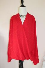 International Concepts inc Blouse Top 20 W Red Long Sleeve Blouson Career Party