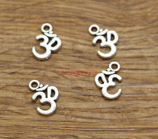 SC851 8 Om Charms Antique Silver Tone 2 Sided Ohm Disc