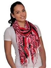 Amtal Womens Red Black White Abstract Design Lightweight Soft Scarf with Tassels