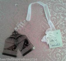 Wedding/Bridal Keepsake/Horseshoe -  Love Birds In Silver Gilded Cages