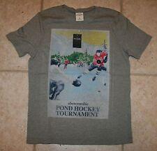 NWT Abercrombie Boys Large Winter Sports Ice Pond Hockey Short Sleeve T-Shirt