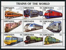 Grenada 1995 MNH Trains World 9v M/S II Railways Züge Trenes Treni Chemin de Fer