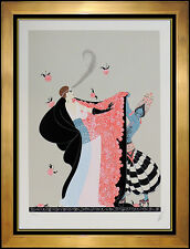 ERTE Serigraph Original SIGNED Deco Artwork Costume Dress Design Flowered Cape