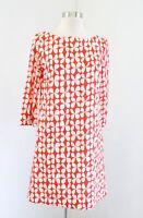 Lesley Evers Orange Off White Geometric Print 3/4 Sleeve Shift Dress Size XS