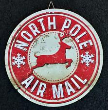North Pole Air Mail Reindeer ~ Retro Vintage Inspired Metal Christmas Sign