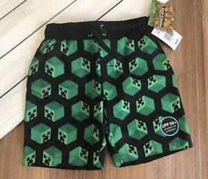 NWT Minecraft Creeper Boy's Swim Trunks Shorts Swimsuit Gamer Green Sz 4