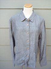 J Jill Womens Shirt Jacket Sz M 43B Green 100% Linen Chambray Button Front Top