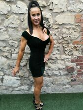 Vestido de fiesta Missguided ~ Verde Esmeralda terciopelo siente GOTH GOTHIC Sexy Mini ~ Reino Unido 6