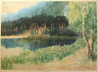 Ferdinand Brandt (geb. 1861) Aquarell Waldsee um 1900 Kunst Maler Dresden xz
