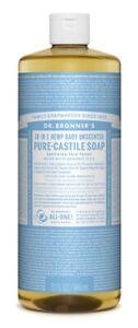 Dr Bronner Baby Unscented Castile Liquid  Body Soap - 946ml