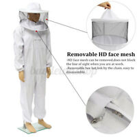 XL Professional Cotton Full Body Beekeeping Bee Keeping Suit w/ Veil Hood