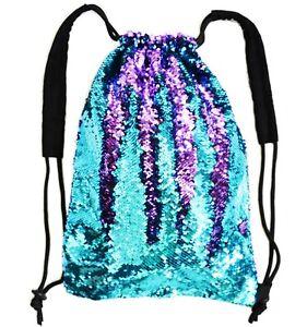 Mermaid Reversible Flip Sequin Drawstring Backpack Turquoise Purple Black Bag