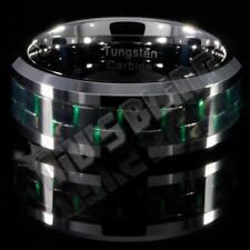 Tungsten Carbide Black Green Carbon Fiber Wedding Band Bridal MEN Silver Ring