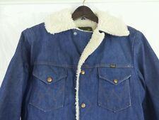 Vintage Wrangler Denim Coat Large Sherpa Fur Lined Trucker Barn Chore Cowboy