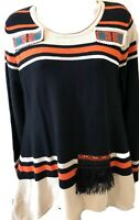 Altar'D State Southwestern Aztec Striped Embroidery Fringe Sweater Sz M