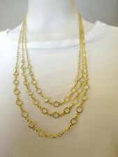 VINTAGE GOLD TONE MULTI 3 STRAND OPEN BEZEL FACETED CRYSTAL CHAIN NECKLACE
