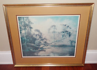 Vintage Robert Malcolm Rucker Limited Edition Fishing Signed Lithograph Print