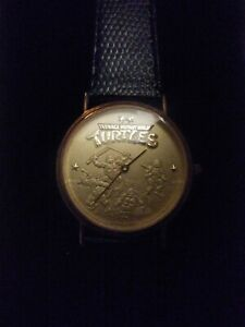 Vintage Teenage Mutant Ninja Turtles Watch: Gold Faced, Limited TMNT Wrist Watch