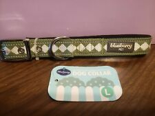 Blueberry Moss Green Dog Collar Size Large 3m Reflective BRAND  NEW metal clasp