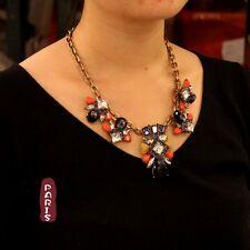 Collana Art Deco Goccia Arancio Blu Giallo Retrò Moderno Originale Sera QT 10