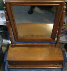 Vintage Dressing Table Top Maple Wood Jewelry Box W/ Mirror & Drawer Ethan Allen