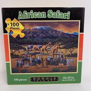 Dowdle Folk Art African Safari animals 100 piece jigsaw puzzle heavy duty box